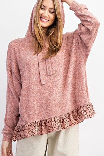 Animal Print Ruffled Bottom Pullover Hoodie Top