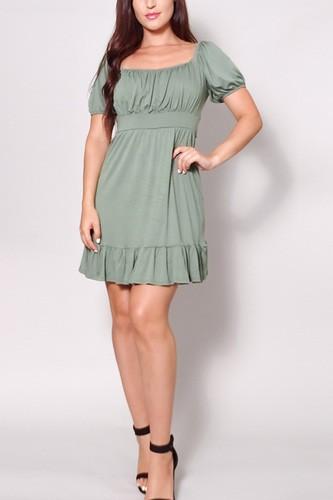 Puff Short Sleeve Tie Back Easy Summer Mini Dress