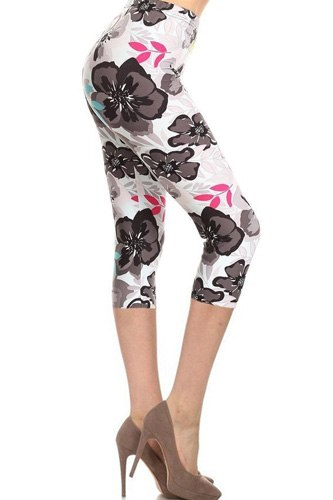 High Waisted Floral Printed Knit Capri Legging