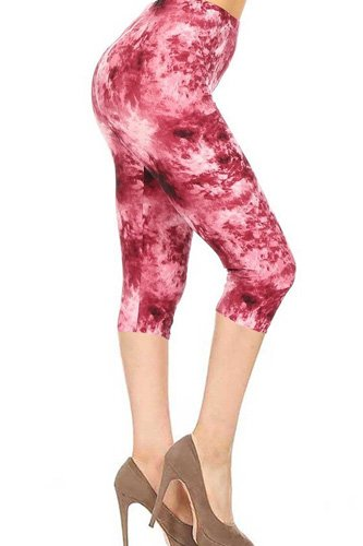 Tie Dye Print, High Rise, Fitted Capri Leggings