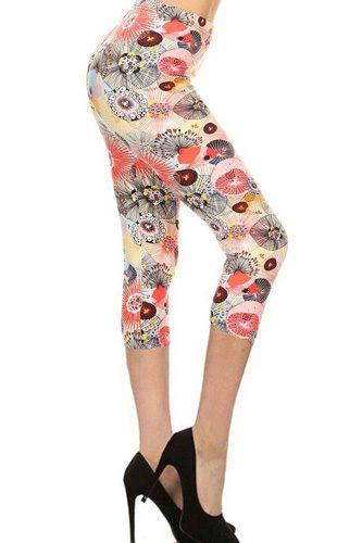 Multi-color Print, Cropped Capri Leggings