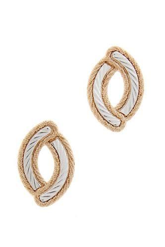 Oval Shape Metal Post Earring