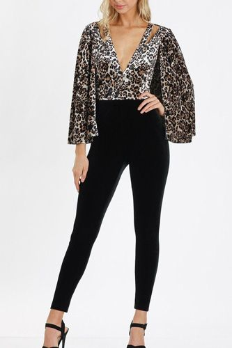Leopard Print  V-neck Jumpsuits