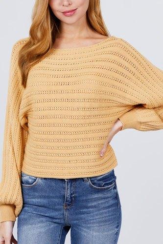 Dolman Sleeve Boat Neck Sweater