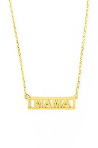 Brass Mini Mama Letter Bar Necklace