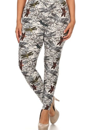 Plus Size Dragonfly Print, Full Length Leggings In A Fitted Style With A Banded High Waist.