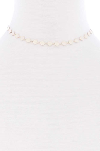 Metal Round Chain Short Necklace