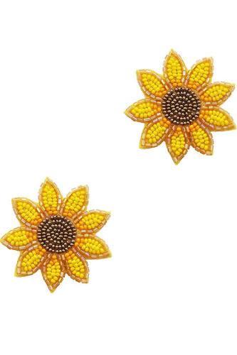 Trendy Seed Bead Flower Stud Earring