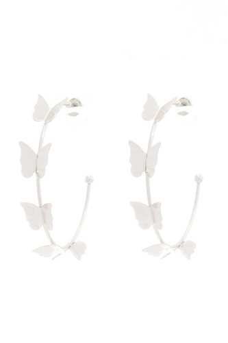 Butterfly Metal Open Hoop Earring