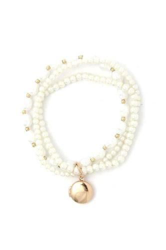 Locket Charm Pearl Beaded Bracelet Set