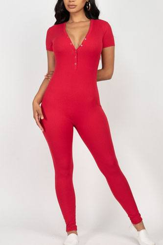 Button Down Bodycon Jumpsuit