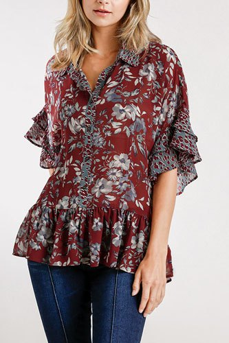 Sheer Floral And Animal Print Button Front Detail Top With Layered Bell Sleeves And Ruffle Hem