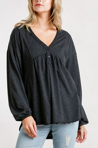 Confetti Detailed Long Puff Sleeve Babydoll Top With Button Front And Raw Hem