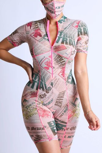 Printed Mesh Romper With Stitching Detail With Mask
