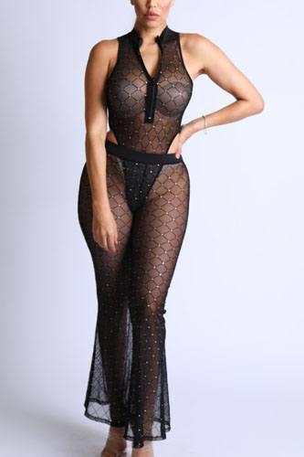 Diamond Mesh Bodysuit Set With Flared Pants