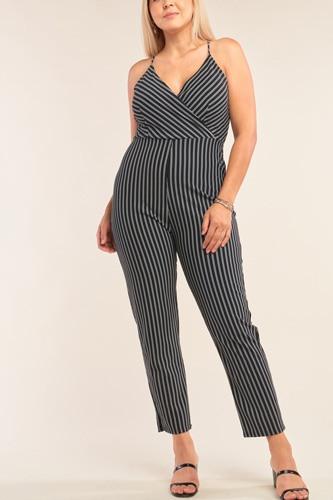 Plus Size Black & White Striped Wrap Sleeveless Criss-cross Strap Deep Plunge V-neck Jumpsuit