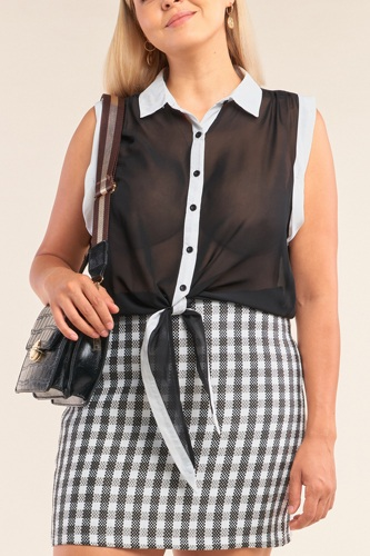Black & White Sheer Buttoned Down Sleeveless Front Knot Top