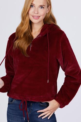 Zipper Detail Faux Fur Hoodie