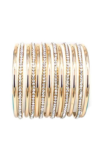 Multi Metal Bangle Rhinestone Mix Bracelet
