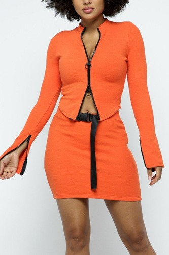 Stretchable Long Sleeve Cropped Top High-waist Mini Skirt