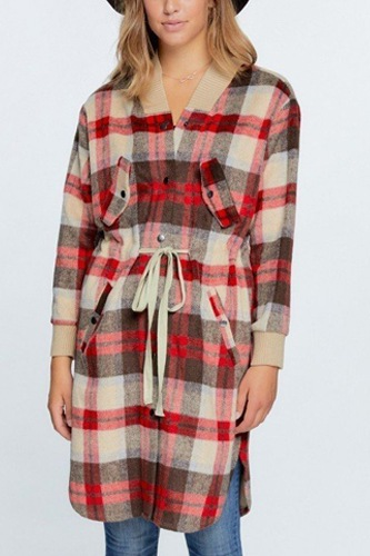 Tartan Plaid Print Oversize Jacket.