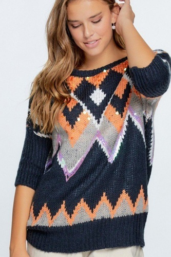 Aztec Pattern With Glitter Accent Sweater