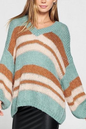 V-neck Cozy Thick Knit Stripe Pullover Sweater