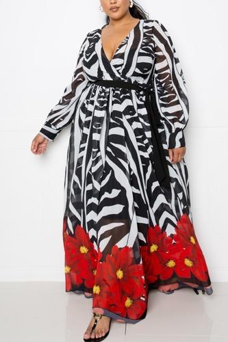 Zebra Printed Maxi Dress