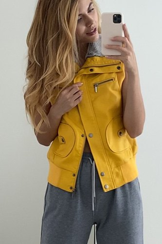 Mustard Vegan Leather Funnel Neck Faux Fur Lining Zip-up Vest