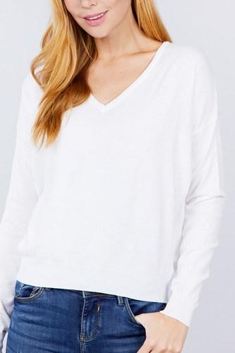 V-neck Back Cross Sweater