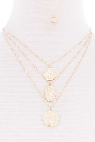 3 Layered Round Metal Pendant Multi Necklace Earring Set