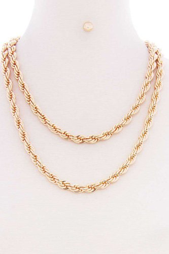 2 Layered Twist Rope Chain Multi Metal Necklace Earring Set