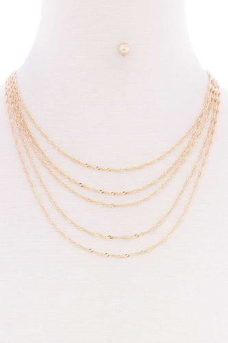 5 Layered Twist Chain Multi Metal Necklace Earring Set