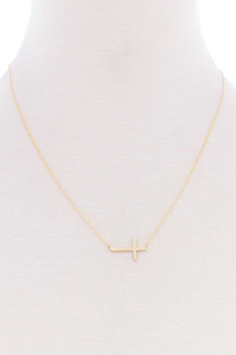 Blb Cross Dainty Metal Message Necklace