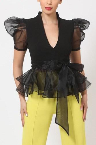 Organza Puff Short Sleeve Fashion Top