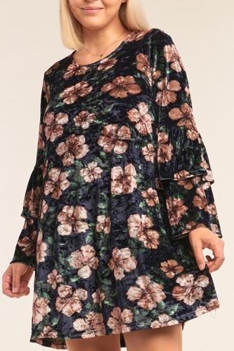 Plus Size Floral Print Velvet Long Layered Hem Sleeve Mini Dress