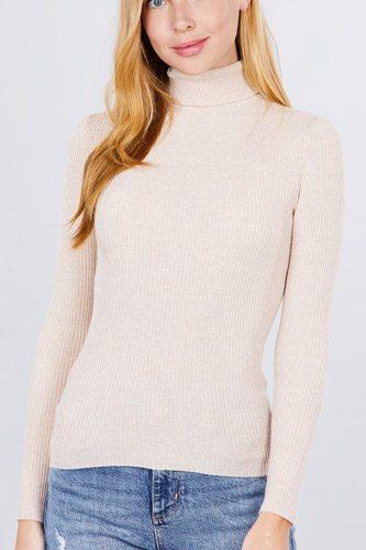 Turtle Neck Viscose Rib Sweater