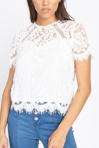 Eyelash Trim Sheer Floral Lace Top
