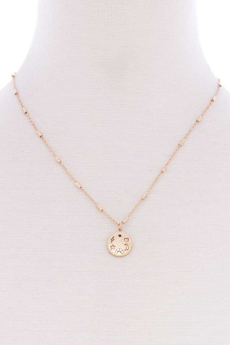 Metal Chain Star Heart Lightning Moon Round Pendant Necklace