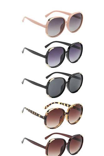 Entrancing Round Barrel Designer Polymer Frame Womens Sunglasses