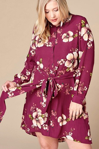 Floral Woven Button-down Collared Shirt Dress