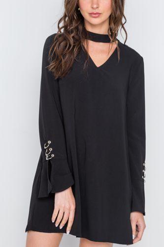 Long Sleeve V-cut Out Solid Mini Dress