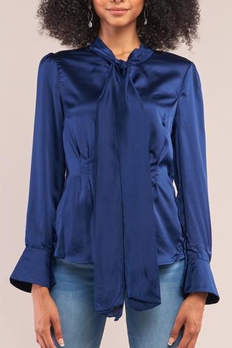 Victorian Indigo Blue Satin Long Sleeve Self-tie Collar Button Down Gathered Blouse