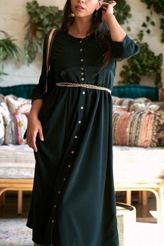 Corduroy 3/4 Sleeve Button Down Midi Dress
