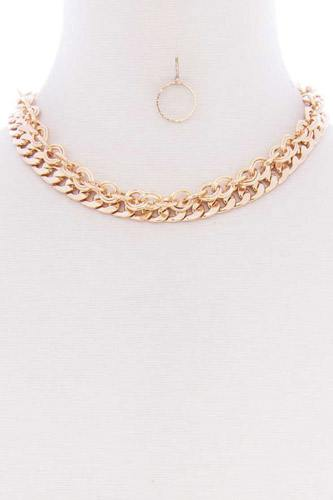 2 Layered Metal Link Chain Multi Necklace Earring Set