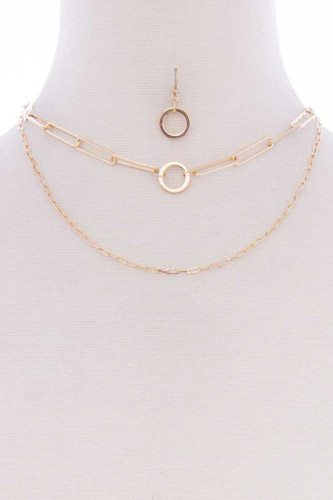2 Layered Metal Chain Necklace Earring Set