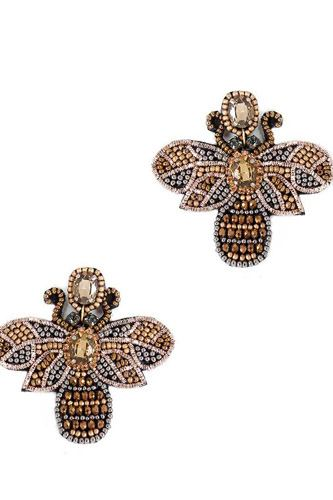 Seed Bead Stone Bee Earring