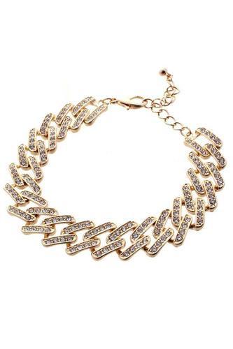 Chunky Rhinestone Stud Metal Link Chain Bracelet