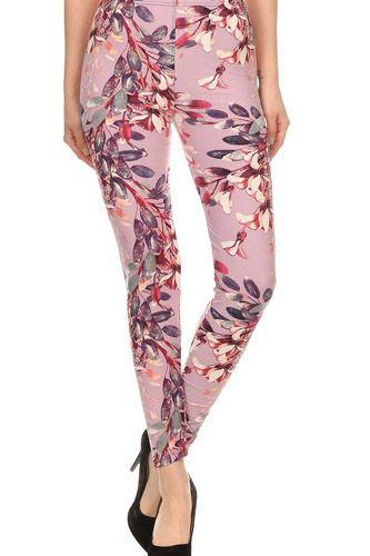 Floral Printed High Waisted Knit Leggings In Skinny Fit With Elastic Waistband