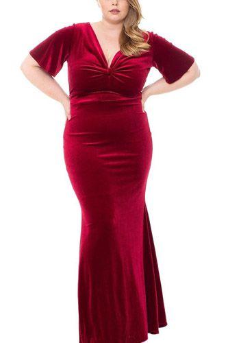 Stretch Velvet Bow Front Deep V-neck Dress